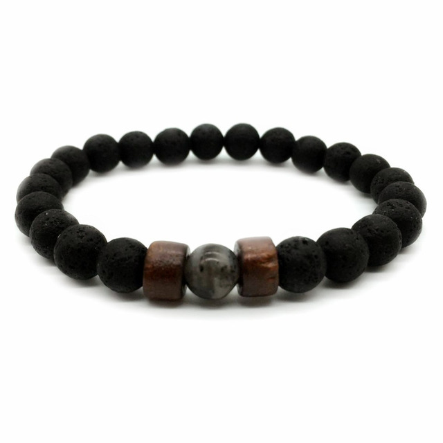 Fashion Antique Natural Stone Beads Lava Bracelet Charm Wooden Hematite Mens Braclet For Men Armband Jewelry Gift Homme