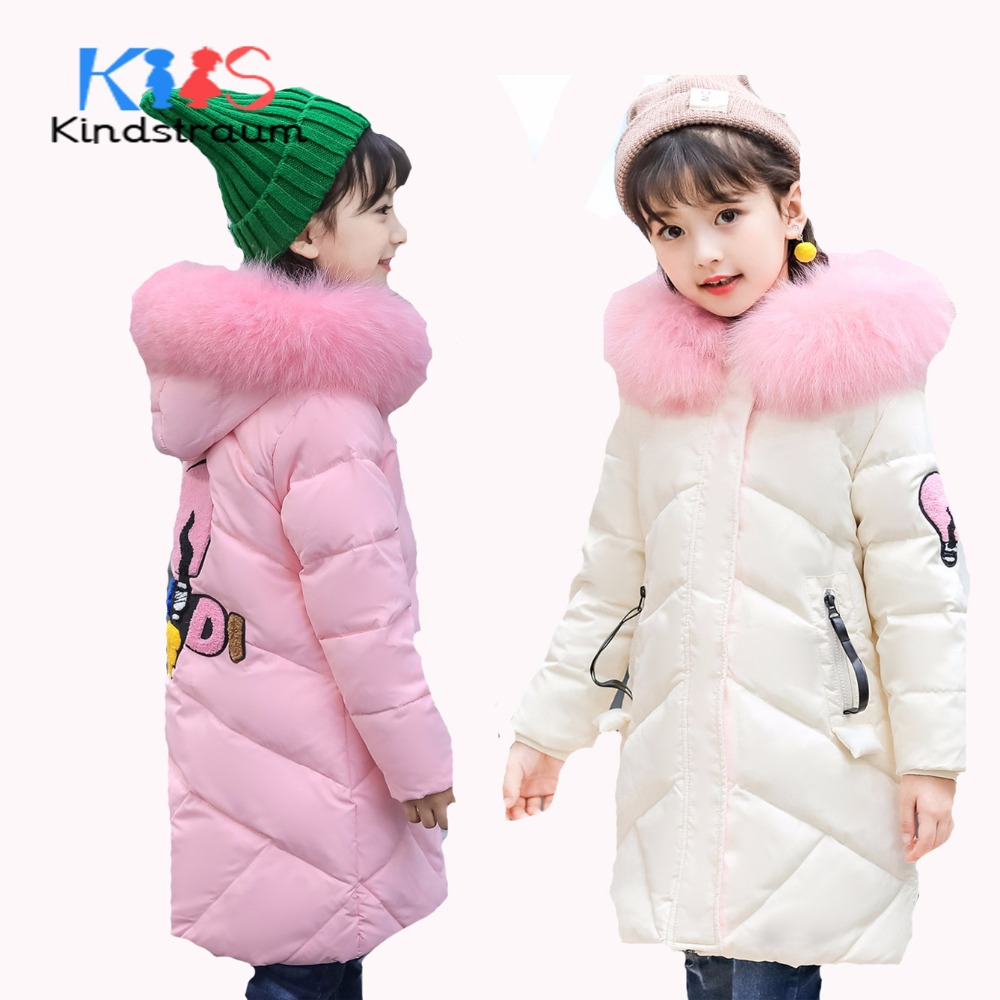 Kindstraum 2017 New Fashion Winter Girls Thick Coat Hooded Fur Kids Super Warm Duck Down Jacket