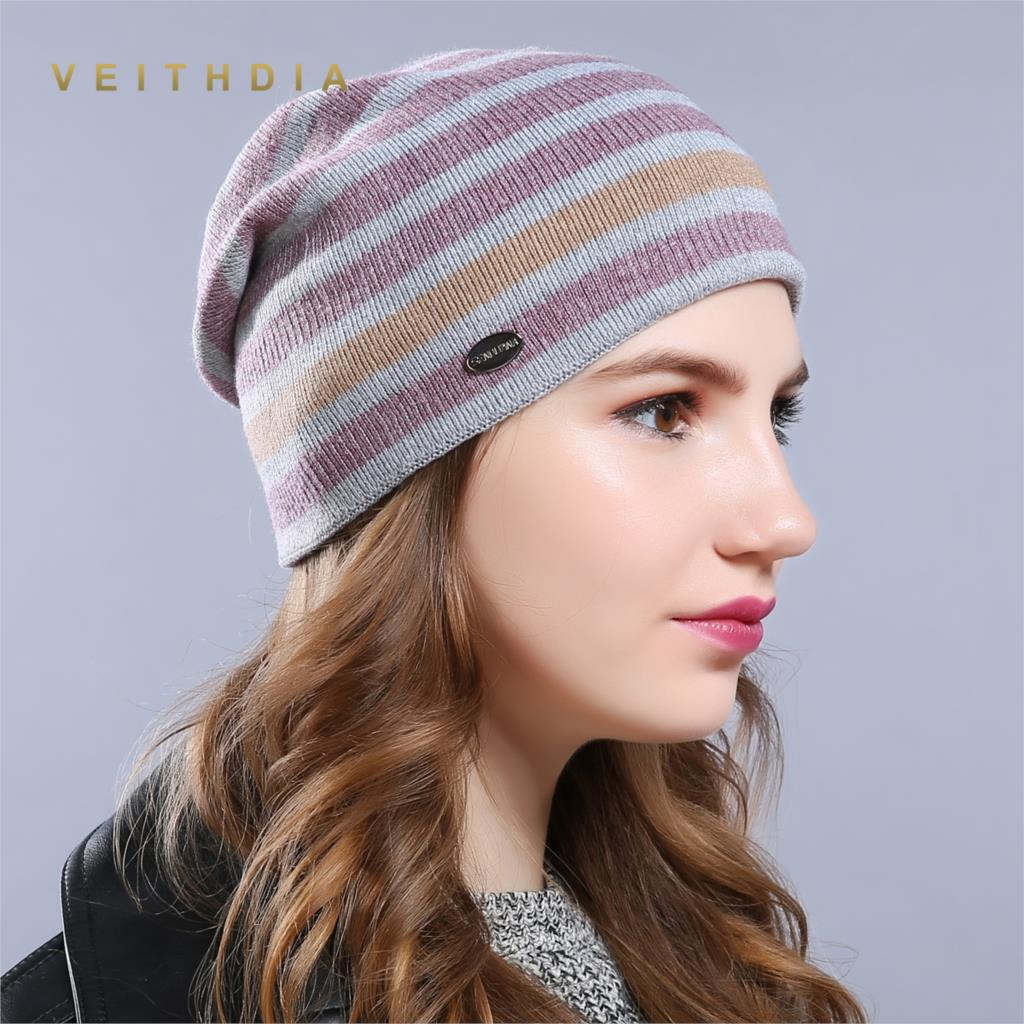 VEITHDIA WomenS Hats Knitted Wool Autumn Winter Tricolor stripe High Quality Brand New 2019 Hot Sale Hat Female Skullies Beanies