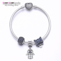 100 925 Sterling Silver Heart Bangles Bracelet With Knot Hand Blue Charms Beads Berloques Para Pulsera