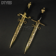 Small Home Decorated Little Sword Antique Metal Handles Beautiful Stainless Steel Blade Cosplay Props Gifts Unsharp