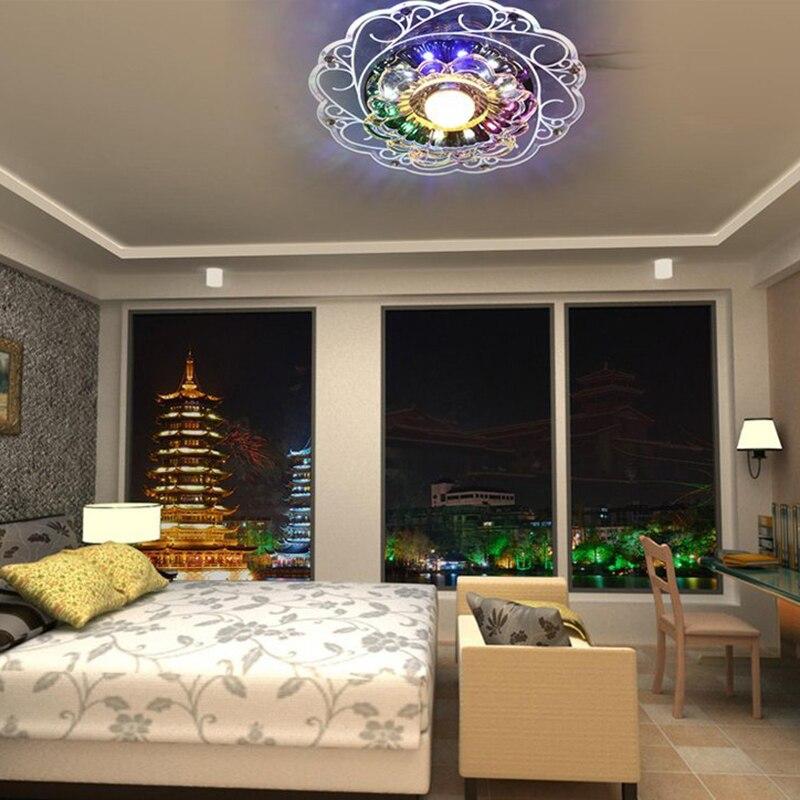 3W LED Crystal Lotus Pendant Flush Lamp Main Warm Light Auxiliary Colorful Light Indoor Lighting