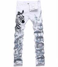 2017 Роскошный Новый Зебра Печати Человек Белые Джинсы Мода Тонкий Джинсовые Длинные Брюки