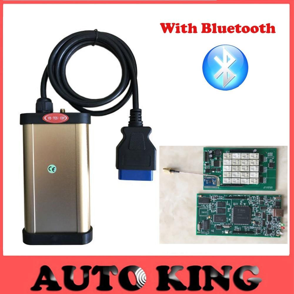 Цена за Новейшие V2014R2/2013.3 Кейген в DVD COM Автомобиля Диагностический инструмент Золото VD-TCS CDP Pro + bluetooth Для Автомобили/грузовые Авто OBD2 Сканер