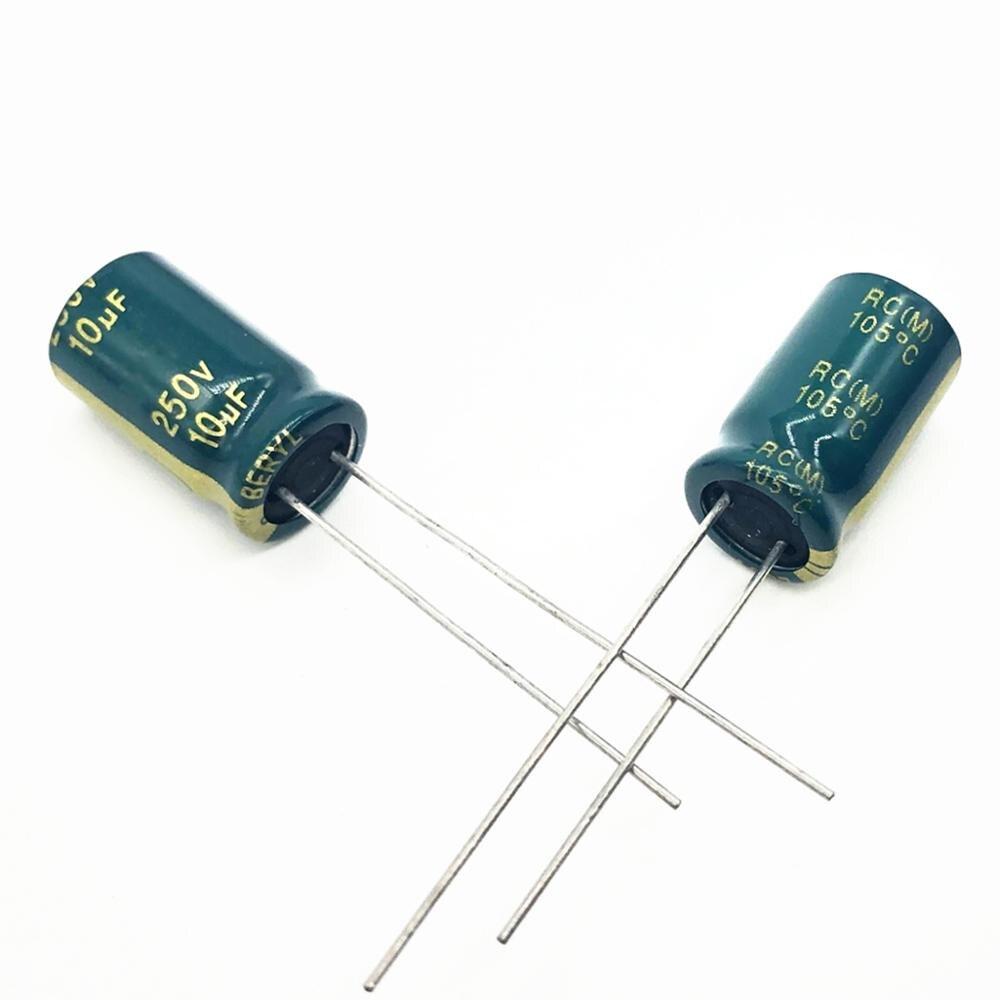 30pcs/lot 250v 10uf  8*12 20% RADIAL Aluminum Electrolytic Capacitor 10000NF 20%