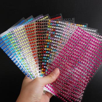 Вечерние и праздничные DIY украшения 12 цветов акриловая наклейка 3 мм 4 мм 5 мм 6 мм кристаллы алмазы Сделай Сам самоклеющиеся стразы наклейки