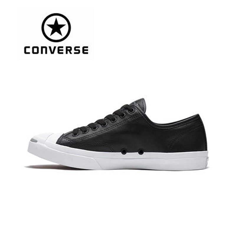 Authentic CONVERSE Jack Purcell Jack Leather Opening Trend Street Teen Genuine Converse Black Skateboarding Shoes for Men Women