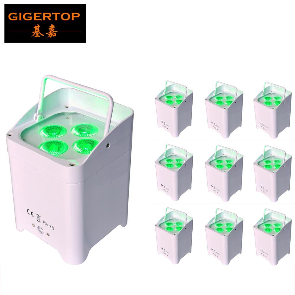 TIPTOP TP-B05 10 Unit 4x18W Wireless Control Battery Powered Led Par Cans White DMX Flat LED Par Light For Pub/Bar/Stage Wash