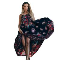 Sexy Women Backless Boho Long Dress Ladies Retro Palace Floral Summer Dresses Womens Sleeveless Sling Party