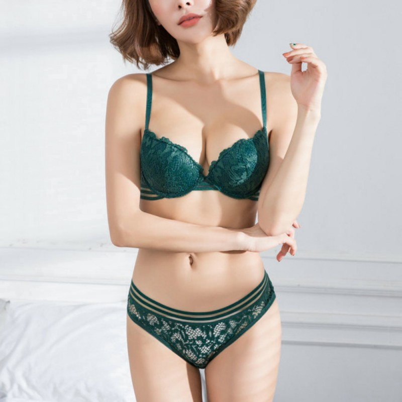 ROPALIA Lingerie   Bra   &   Briefs   Thin Cup Underwire   Bra     Set   With Lace Patchwork Lingerie Underwear   Sets   Women Brassieres Style
