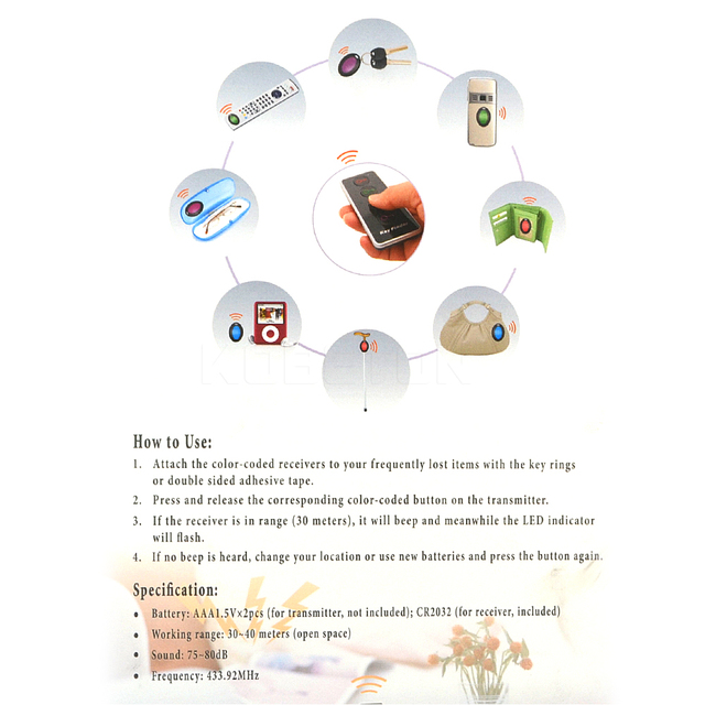 4 in 1 Advanced Wireless Key Finder Remote Key Locator Phone Wallets Anti-Lost with Torch function 4 receivers and 1 dock