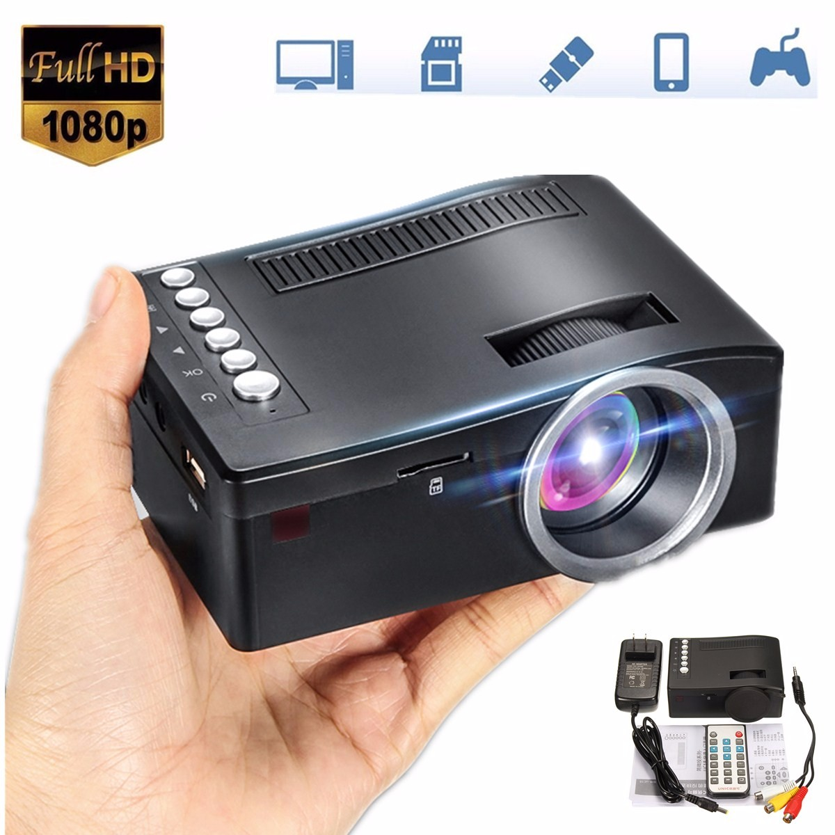 Mini Cinema Home Theater System 1080P HD Multimedia Projector TV AV USB TF HDMI PC LED Digital Pocket Home Projector Home uc40 55whd 1080p mini home 1080p led projector 50lm w hdmi av sd usb