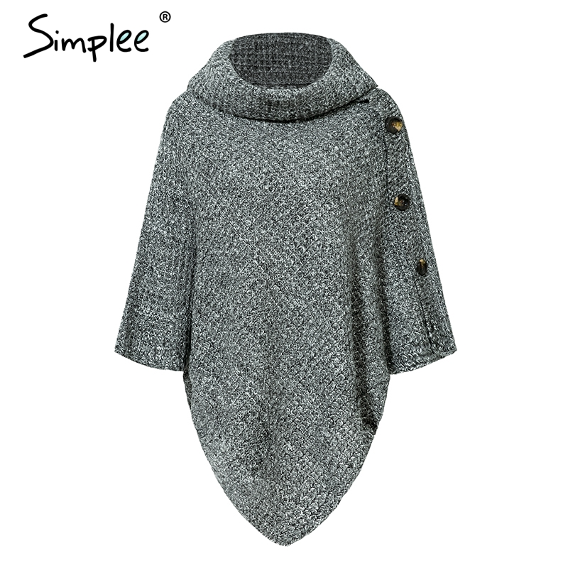 Turtleneck Knitted Casual Cloak Pullover 2