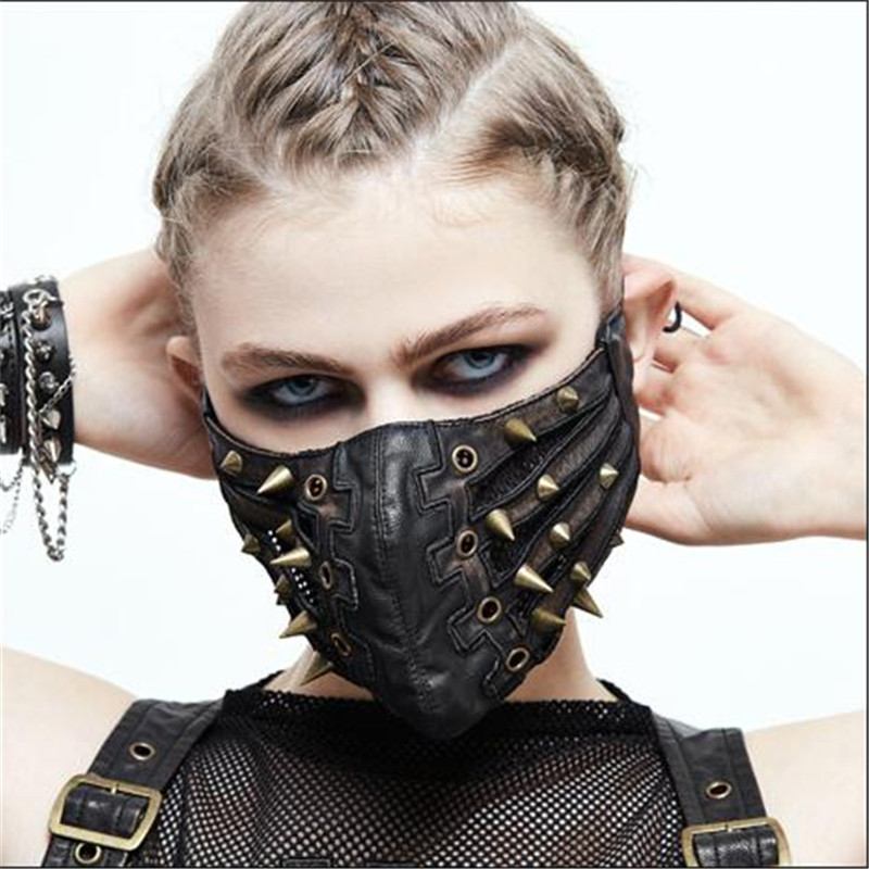 Steam Punk Riding Mask Cosplay Rivet Prop Black Personality Rock Anime Game Perform Halloween Christmas Party Unisex Mask