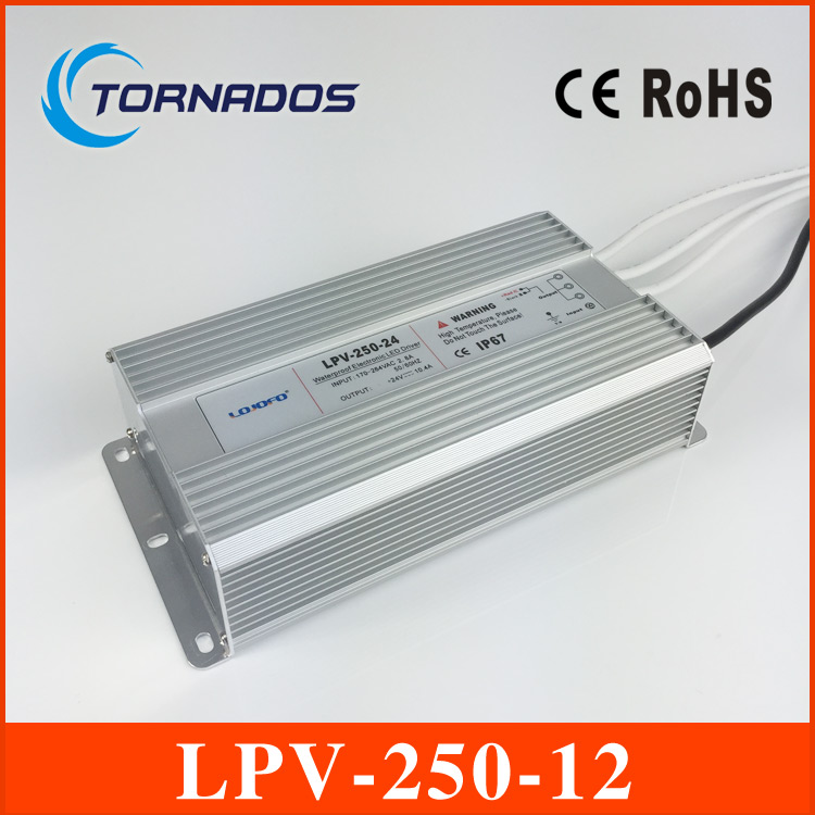 250W 12V 20A LED constant voltage waterproof switching power supply IP67 for led drive LPV-250-12 120w 48v 2 5a led constant voltage waterproof switching power supply ip67 for led drive lpv 120 48