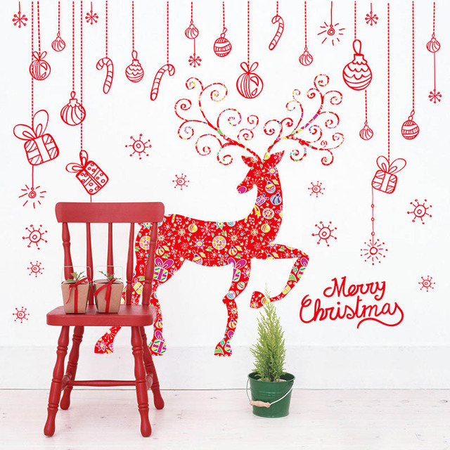 Red christmas gift box elk wall decal stickers window glass wall red christmas gift box elk wall decal stickers window glass wall applique poster merry christmas wallpaper negle Choice Image