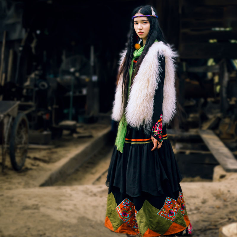00374e9baa0 BOHOCHIC Original Vintage Bohemian Nepal Turkey Ethnic Embroidery Cotton Linen  Women Long Swing Skirt Black AHZ0078D Boho Chic-in Skirts from Women s ...
