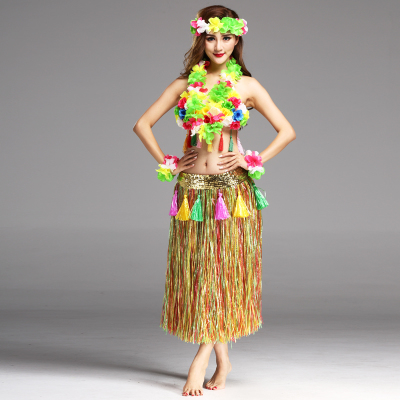 6PCS/set Plastic Fibers Women Grass Skirts Hula Skirt Hawaiian costumes 80CM Ladies Dress Festive Party Supplies