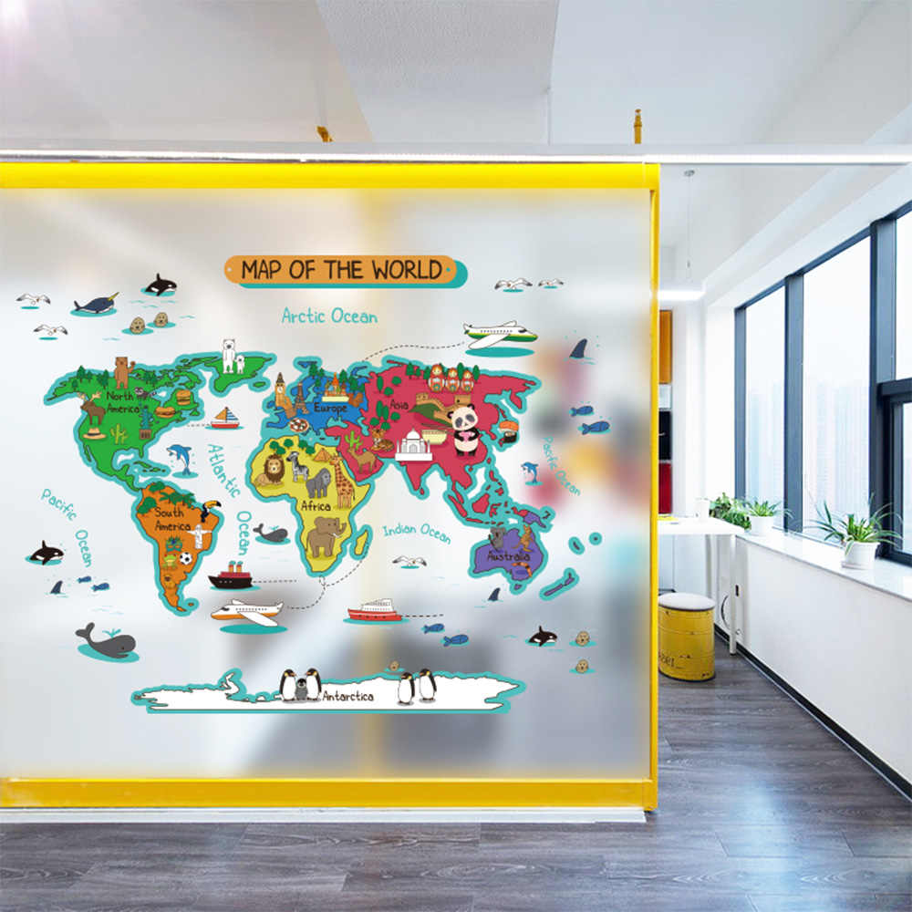 Art Decoration Class 2019 New Creative Large Scale Color Map Wall Stickers Children S Room Decoration Class Stickers Diy Gift To Children Qt578kj 4bb