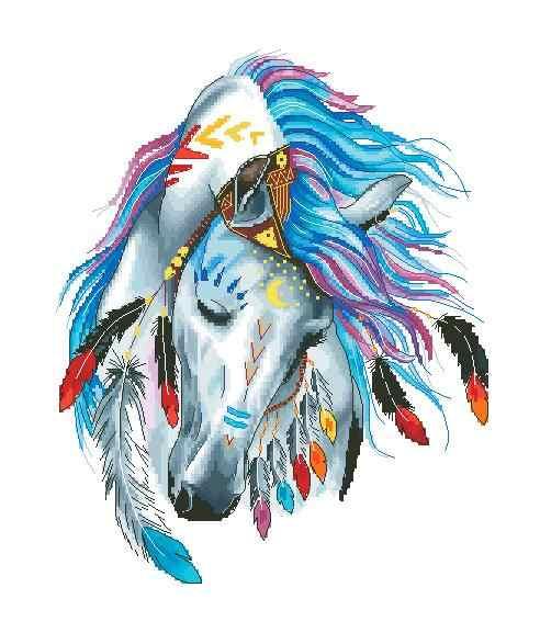 توصيل مجاني أعلى جودة جميل عد عبر الابره عدة الملونة ريشة الحصان الطوطم الحيوان النبيل