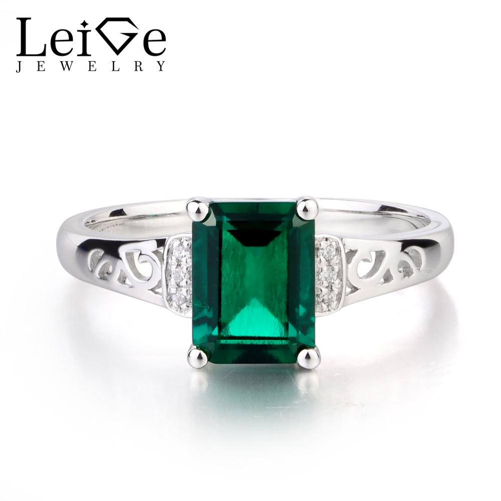 Leige Jewelry May Birthstone Lab Emerald Ring Engagement Rings Emerald Cut Green Gemstone Genuine Solid 925 Sterling Silver Ring leige jewelry emerald engagement rings for women pear shaped ring sterling silver 925 fine jewelry green gemstone may birthstone