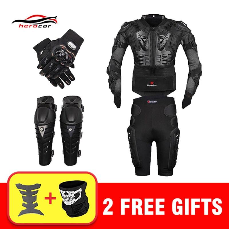 New Motocross Moto Da Corsa Body Armor Moto Equipaggiamento Protettivo Moto Giacca + Shorts Pantaloni + Protezione Ginocchiere + Guanti guardia