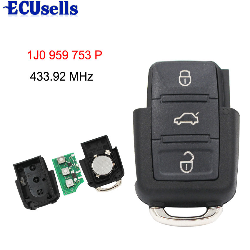 2001 Vw Beetle Ignition Key: 3 Buttons 433MHZ Remote Key Part Number 1J0959753P For VW