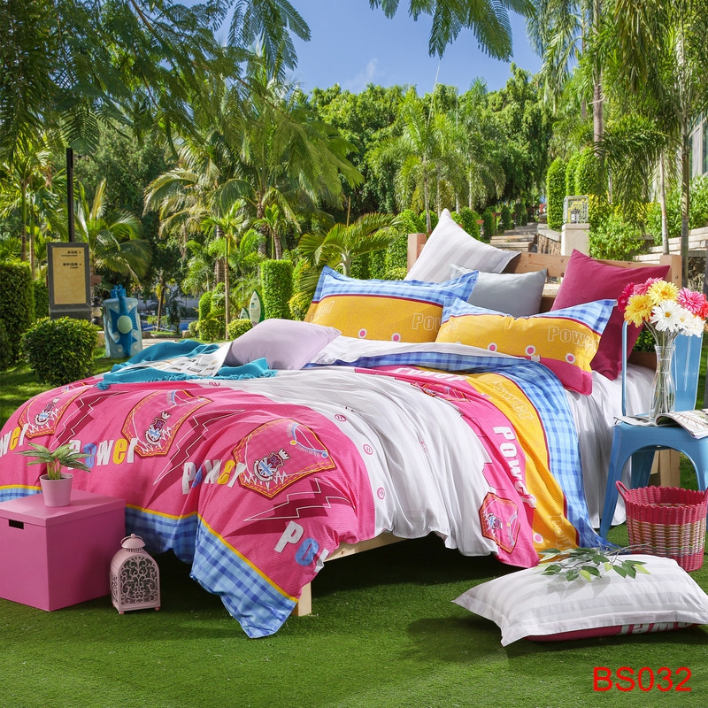 Youth Style Printed 4 Pcs Bedding Set Grandeur Blue Pink