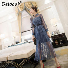 Delocah Women Spring Summer Dress Runway Fashion Designer Long Sleeve Gorgeous Lace Hollow Out Solid Printed Elegant Slim