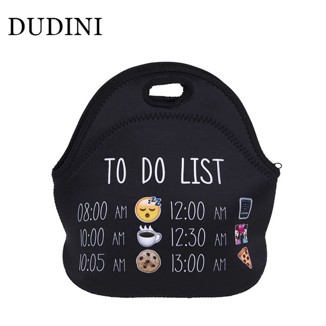 DUDINI Leisure Style Hand-Held Lunch Bag Lovely Expression Pattern Fashion Picnic Bag Portable  Insulation Bag For Lunch
