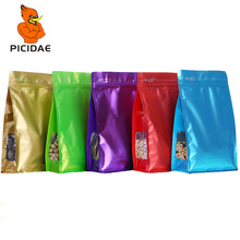 Color Window Organ Zipper Lock Stand Aluminum Foil Bag Eight-sided Seal Packaging Food Nuts Snack Candy Cheese Milk Tea Coffee