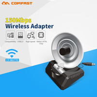 CN Free Internet Long Range 20dBm High Power Wireless Adaptor 10dBi Antenna 150Mbps USB WIFI Adapter
