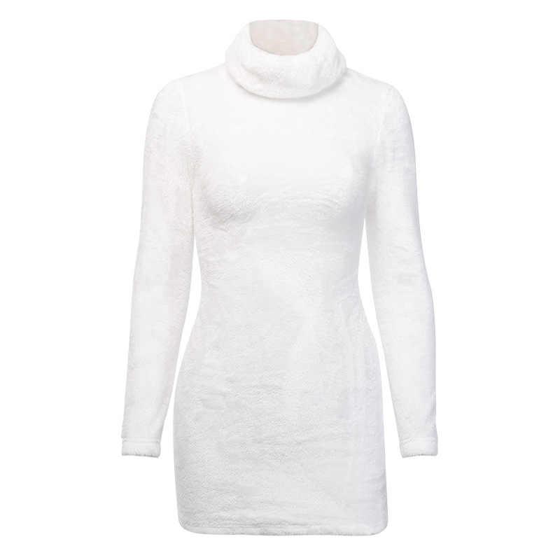 Shestyle Flanell Turleneck Langarm Schwarz Sexy Kleid Frauen Fleece Weiß Solide Bodycon Herbst Party Kleider Weibliche 2020New