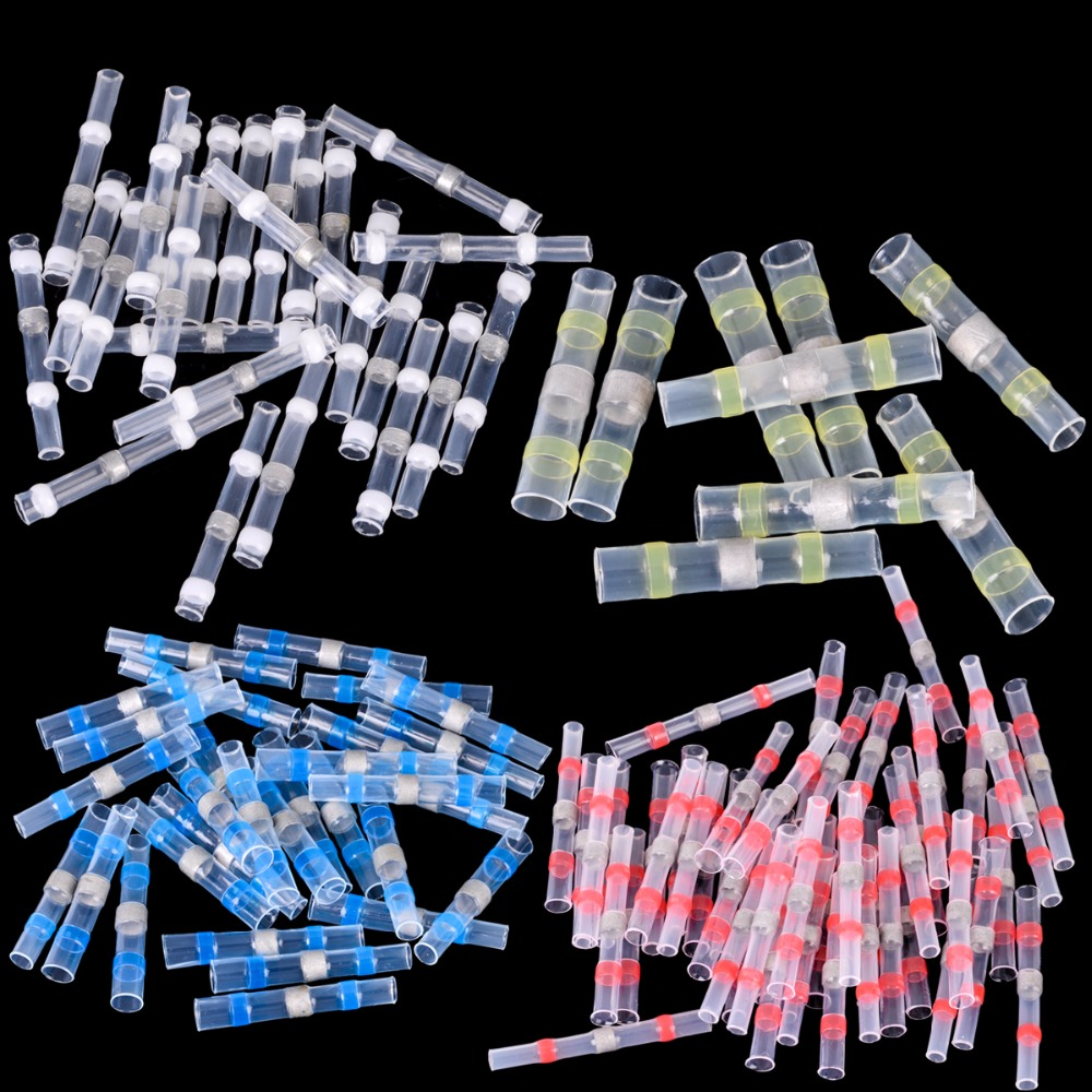100pcs Waterproof Heat Shrink Butt Wire Connector 26-10 AWG Solder Sleeve Splice Connector Terminal Kit 500 pcs blue heat shrink 16 14 ga butt wire connectors ring terminal free shiping