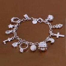 993b4d2eb80c Estilo de verano fina 925 pulsera de plata esterlina 925-sterling-silver  joyería 13 cadena encantos pulseras para las mujeres ho.