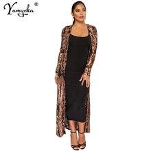 Sexy Cardigan Sequins Party Dress Women Mesh Long sleeve maxi Summer Dress club vintage long dresses Vestidos robe femme 2019 HL цена
