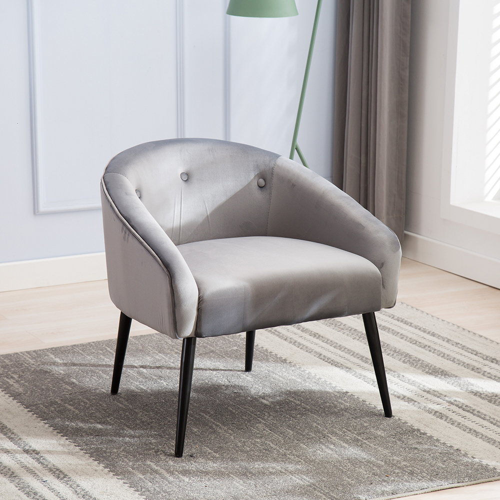 Mid-Century Style Curved Velvet Accent Chair Superior Materials High-Quality Steel Frame Chairs Suitable For Hotel Home(China)