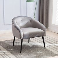 Mid Century Style Curved Velvet Accent Chair Superior Materials High Quality Steel Frame Chairs Suitable For Hotel Home