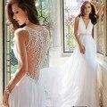 Playa Vestido De Noiva 2017 Una Línea de Cuello En V Profundo Apliques de Perlas de La Vendimia Vestidos de Novia de La Boda Vestidos Vestido de Novia vestido de Novia