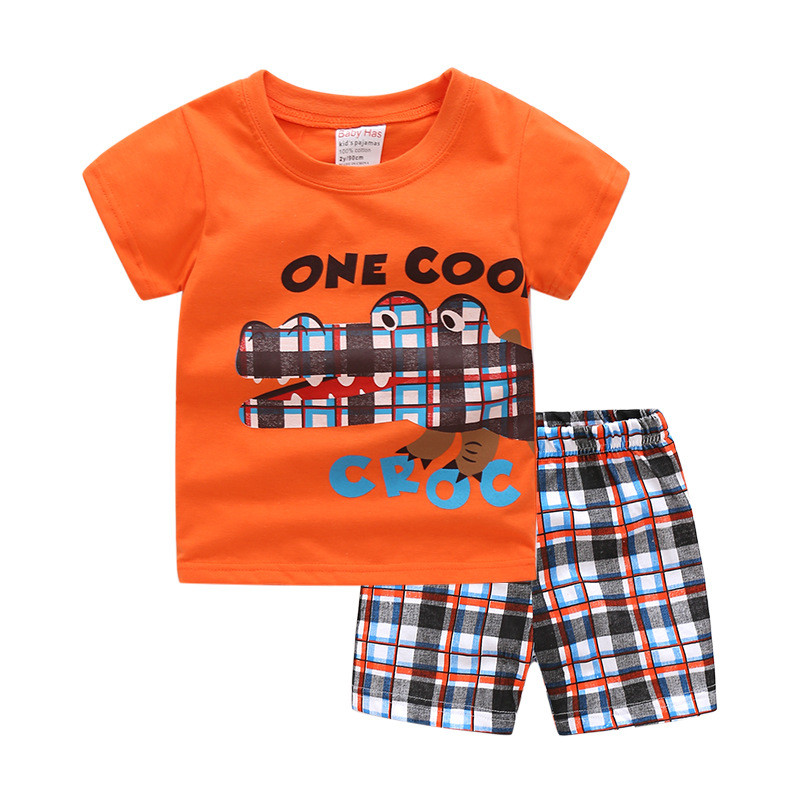 Jumping 2018 Summer Style Children's Clothing Sets 2018 Short-Sleeve Striped T-shirt+ Pants Baby Kids Sets 100% Cotton suits цена
