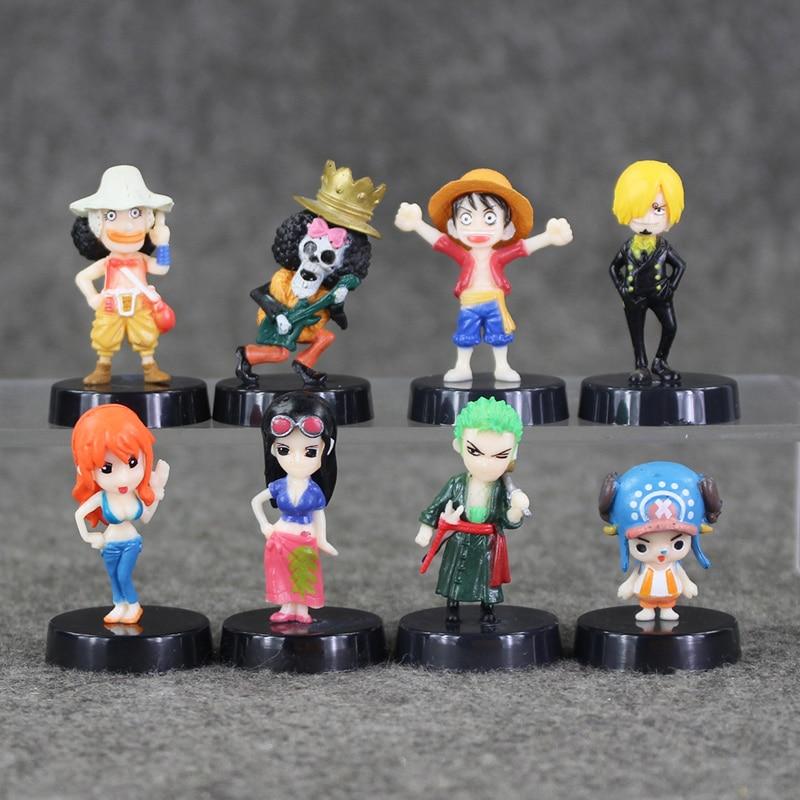 10 Sets Lot 4 Cm One Piece Luffy Nami Usopp Robin Chopper Sanji Zoro