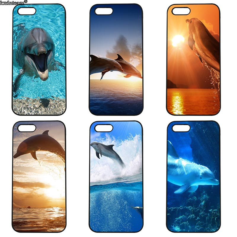 Cute Sea Animal Dolphin Half Wrapped Phone Case Hard PC Cover Fitted for iphone 8 7 6 6S Plus X 5S 5C 5 SE 4 4S iPod Touch 4 5 6