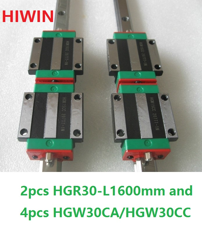 2pcs 100% original Hiwin linear rail HGR30 -L 1600mm + 4pcs HGW30CA HGW30CC flange carriage cnc router hgr30 hiwin linear rail 2pcs 100% original hiwin rail hgr30 1000mm rail 4pcs hgw30ca blocks for cnc router