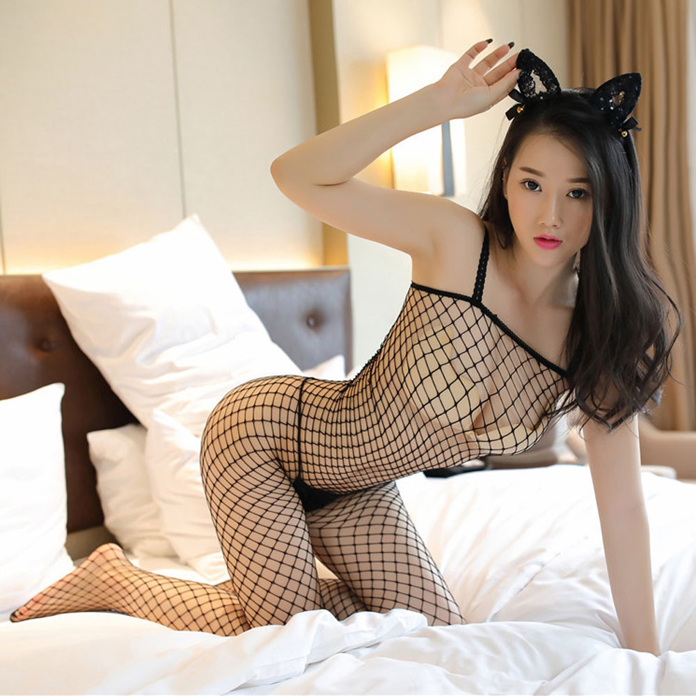 New Style Perspective Sexy Lingerie Open Crotch Body stockings Exotic Apparel Lace Body Suit Fishnet Women Erotic Lingerie A5