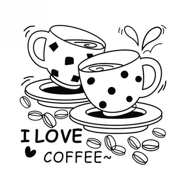 American Style I love coffee Wall Decal Cute Coffee Cup ...