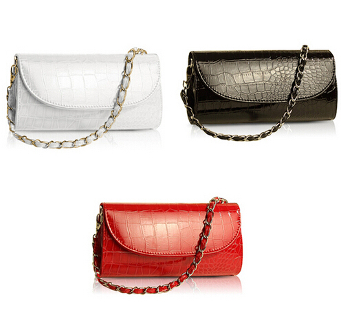 TEXU Design Crocodile Pattern women Chain handbag cluth faux Leather Evening Clutches party Shoulder Bag