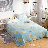 Light Blue Cute White Yellow Egg Pattern 100% Cotton 230x250cm home Textiles Bedding 3 Pcs Bed Sheet Set +Pillowcase Super Soft