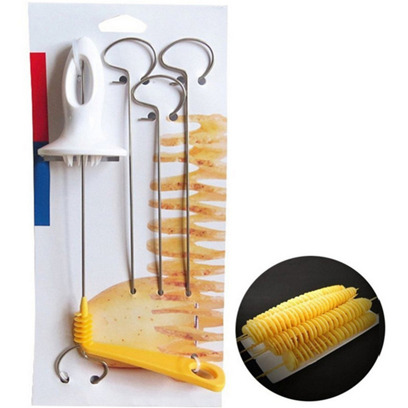 Convenient Tornado Potato Spiral Cutter Slicer Stainless Steel French Fry Potato Chips Making Twist Shredder Home Kitchen Tools