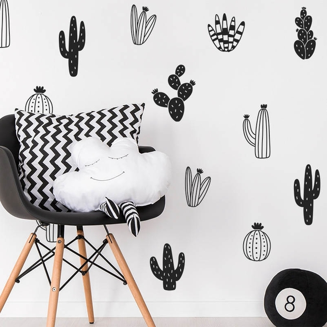 Cactus wall decals woodland tribal cactus wall stickers for kids room baby nursery decor art succulent