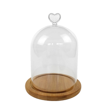 Clear Glass Display Cloche Bell FlowerJar Dome-Immortal Preservation Wooden Base High Borosilicate Heart Bamboo Etern